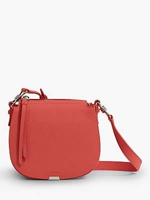 AllSaints Captain Lea Round Leather Cross Body Bag, Coral Pink