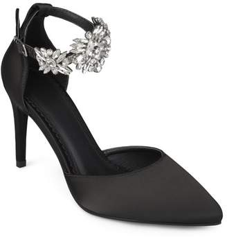 Brinley Co. Women's Satin Pointed Toe Rhinestone Ankle Strap D'orsay Stiletto Heels