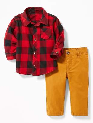 Old Navy Button-Front Shirt and Pants Set for Baby