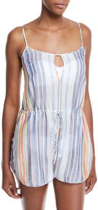 Diane von Furstenberg Keyhole Sleeveless Striped Cotton-Silk Romper