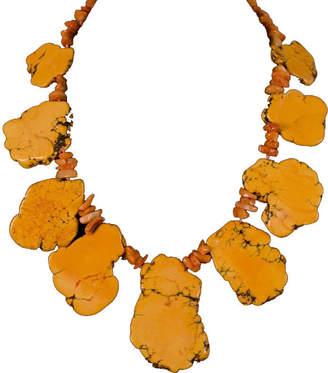 Brass Fusion Large Slate Like Orange Turquoise Necklace