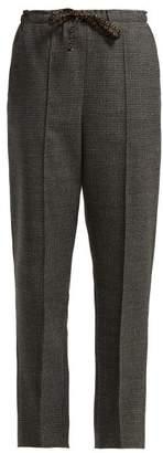 Fendi Houndstooth Virgin Wool Blend Trousers - Womens - Grey Multi