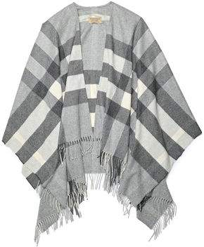 Burberry Fringe-trimmed Checked Cashmere Wrap