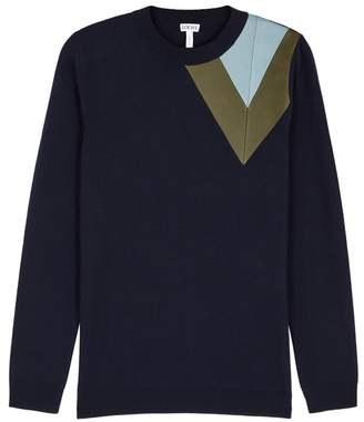 Loewe Navy Leather-insert Wool Jumper