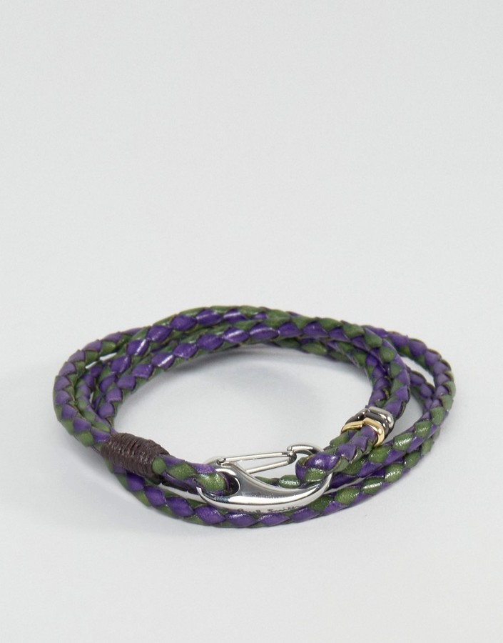 Paul Smith Paul Smith Leather Wrap Bracelet In Navy