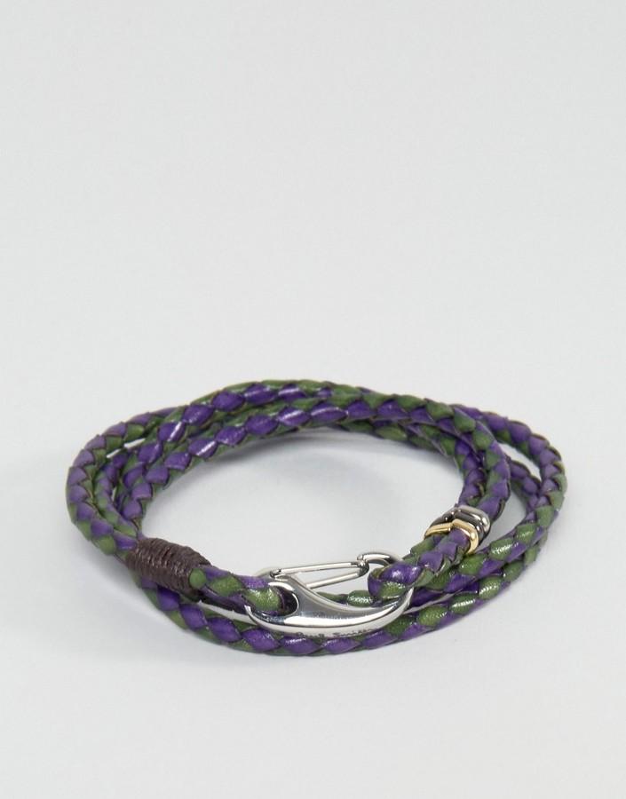 Paul SmithPaul Smith Leather Wrap Bracelet In Navy