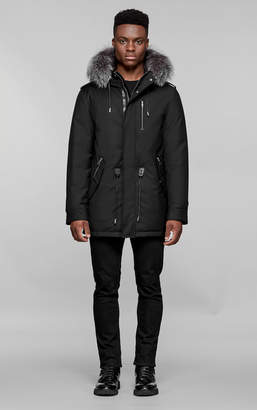 Mackage SETH-DX hip length twill parka with hood and natural fur