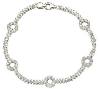 LeVian Suzy Jewelry Pave CZ Sterling Silver Floral Tennis Bracelet