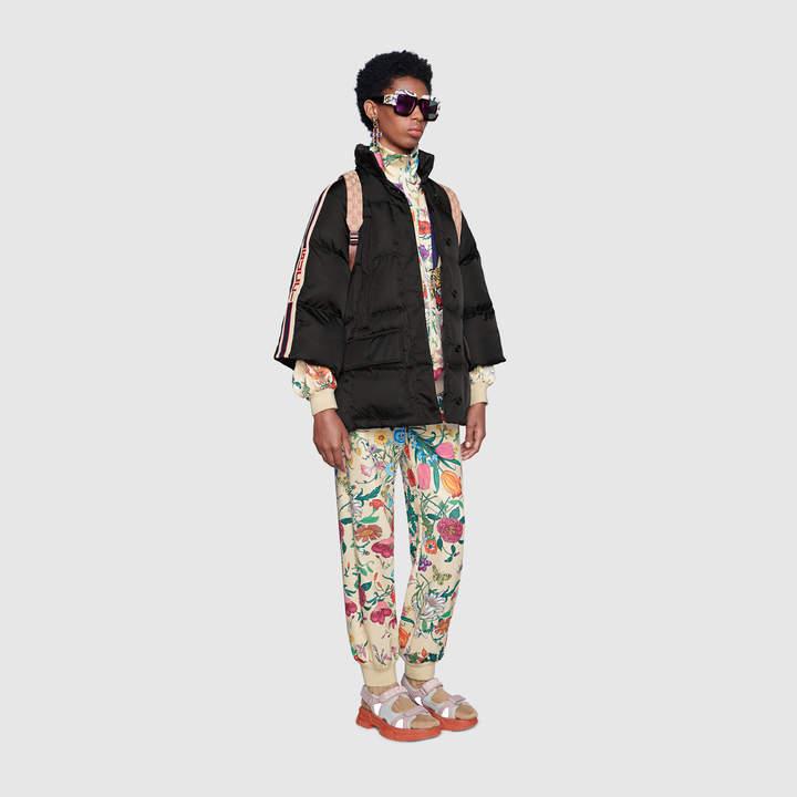 Padded nylon cape jacket with stripe