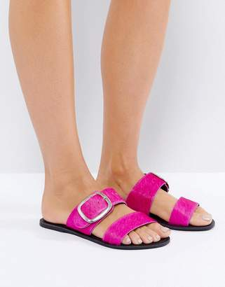 New Look Pony Leather Buckle Flat Sandal
