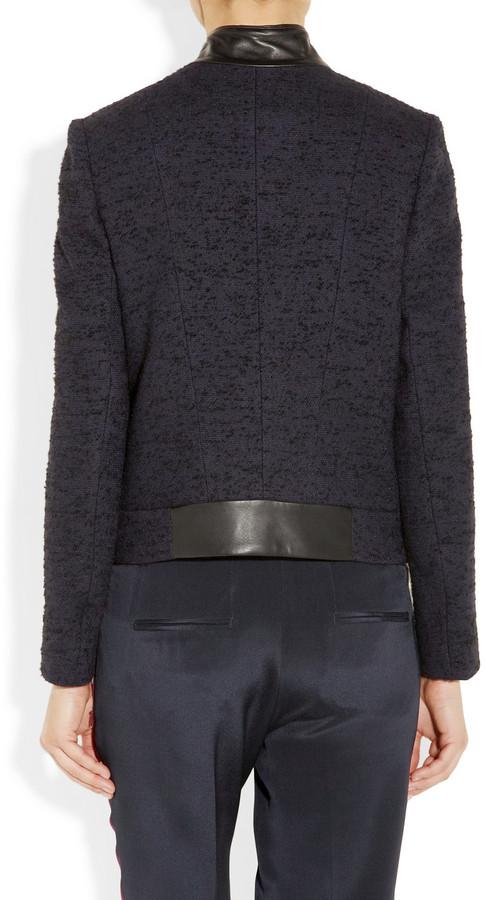 Maje Reaumur leather-trimmed jacket