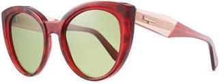 Salvatore Ferragamo Two-Tone Acetate Cat-Eye Sunglasses