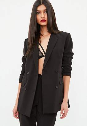 Missguided Black Button Double Breasted Longline Blazer