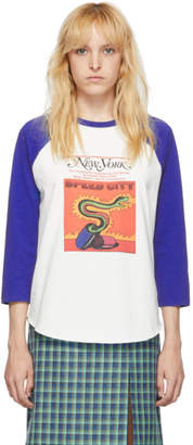 Marc Jacobs Off-White and Blue New York Magazine Edition The Baseball Long Sleeve T-Shirt