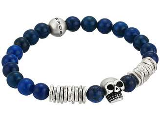 Steve Madden Bead and Discs with Skull Design Stretch Bracelet in Stainless Steel