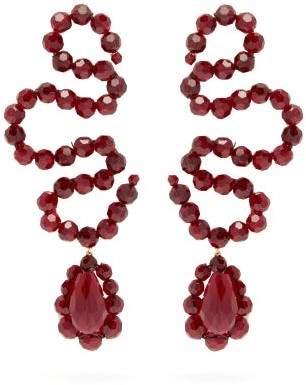 Simone Rocha Wiggle Beaded Drop Earrings - Womens - Burgundy