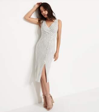 Dynamite Button Front Bodycon Dress WHITE/BEIGE STRIPES