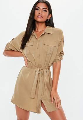 Missguided Stone Tie Waist Utility Shirt Dress