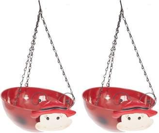 Very Pair Of Wobblehead Ladybird Hanging Baskets 11'' (32cm)