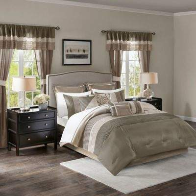 Madison Park Essentials Westmont 24-Piece Queen Comforter Set in Natural