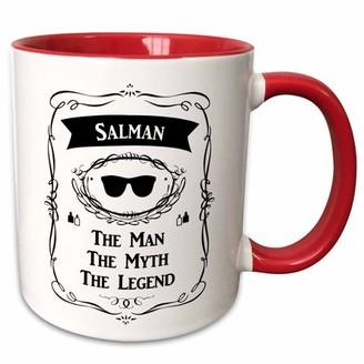 3dRose Salman The Man The Myth The Legend sunglasses cologne bottles design - Two Tone Red Mug, 11-ounce
