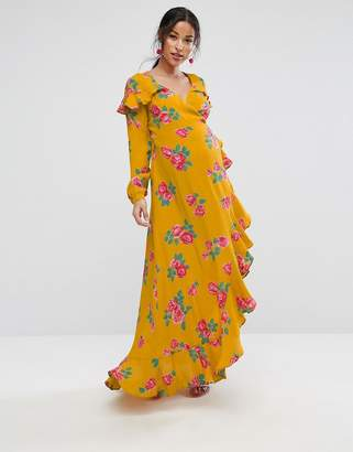 Asos Long Sleeve Wrap Maxi Dress in Bold Floral