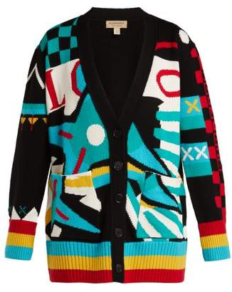 Burberry Intarsia Knit Merino Wool Blend Cardigan - Womens - Multi