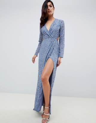 Asos DESIGN wrap front maxi dress in scatter sequin with open back