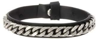 Steve Madden Curb Chain Leather Bracelet