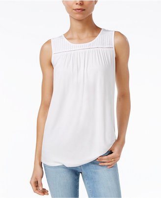 Maison Jules Pleated Crochet Tank, Only at Macy's $39.50 thestylecure.com