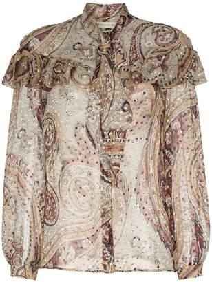 Etro silk printed ruffle blouse