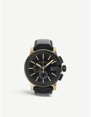 Gucci YA101203 G Chrono Collection PVD and leather watch
