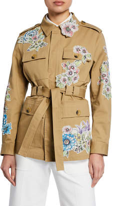 RED Valentino Floral Patchwork Utility Jacket