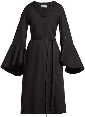 Teija - Tie Waist Cotton Poplin Dress - Womens - Black