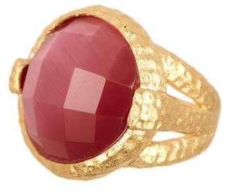 Rivka Friedman 18K Gold Clad Round Faceted Raspberry Cat's Eye Hammered Bezel Ring