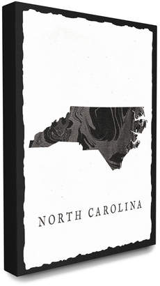Stupell The Home Decor Collection Black And Grey Marbled Paper North Carolina State Silhouette