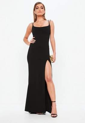 Missguided Black Strappy Scoop Neck Split Fishtail Maxi Dress