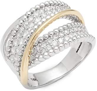 Saks Fifth Avenue Women's Two-Tone Twist Diamond & 14K Yellow Gold Ring