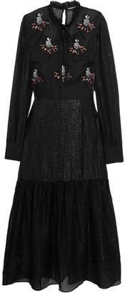 Markus Lupfer Embellished Silk-organza And Metallic Chiffon Midi Dress - Black