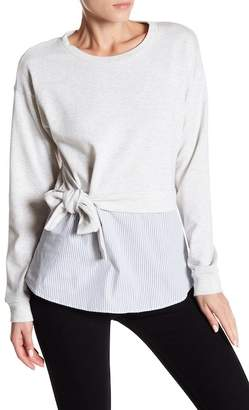 Socialite Side Tie Poplin Bottom Sweatshirt