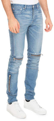 Givenchy Biker Denim Skinny Jeans with Zippers, Blue $950 thestylecure.com