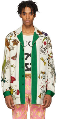 Gucci White New York Yankees Edition Floral Gothic Print Shirt