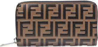 Fendi Double F Logo Zip Around Wallet