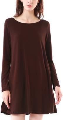 MiYang Casual Long Sleeve Pockets T-Shirt Dress Fall Clothes for Women