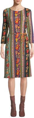 Etro Long-Sleeve Ribbon-Print Knee-Length Dress
