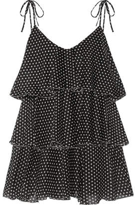 Lisa Marie Fernandez - Imaan Tiered Polka-dot Cotton-voile Mini Dress - Black $745 thestylecure.com