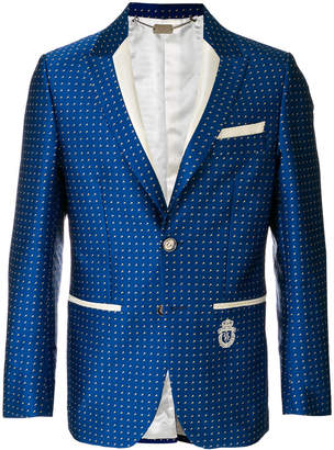 Billionaire dot print slim fit blazer