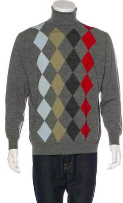 John Smedley Argyle Wool Turtleneck Sweater