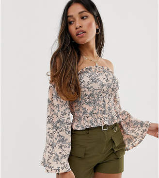 Parisian Petite off shoulder shirred top in ditsy floral
