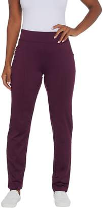 Denim & Co. Active Petite Fleece Back Straight Leg Knit Pants